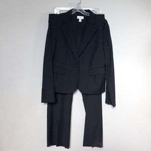 Loft | Suit Pinstripe Black Pants Blazer 12